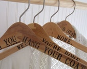 CUSTOM wood hanger for wedding dress gown or coat- hand stamped maple with names or a phrase by Paloma's Nest