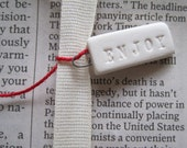 ENJOY set of 6 tiny text tiles - porcelain charms tags pendants