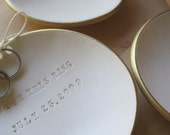 personalized gold rim Ring Bearer Bowl, custom wedding ring bowl with words, names, by Paloma's Nest