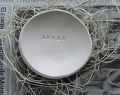 LUCKY catch all ring dish tiny text bowl by Paloma's Nest