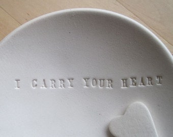 I CARRY YOUR HEART tiny text bowl and heart token set by Paloma's Nest