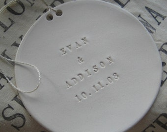 CUSTOM personalized ornament with names, date, or words of your choice- a text tile by Paloma's Nest