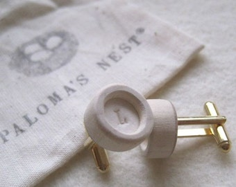 CUSTOM cuff links set, small, porcelain with wooden bezel, with inscribed inital letter in white,  by Paloma's Nest