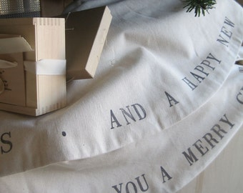 Tree Skirt in Canvas and  Flannel Hand Stamped- Wish you a Merry Christmas-  Limited Edition by Paloma's Nest