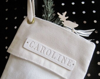 Personalized Christmas Stocking - Large with custom white ceramic name tile by Paloma's Nest