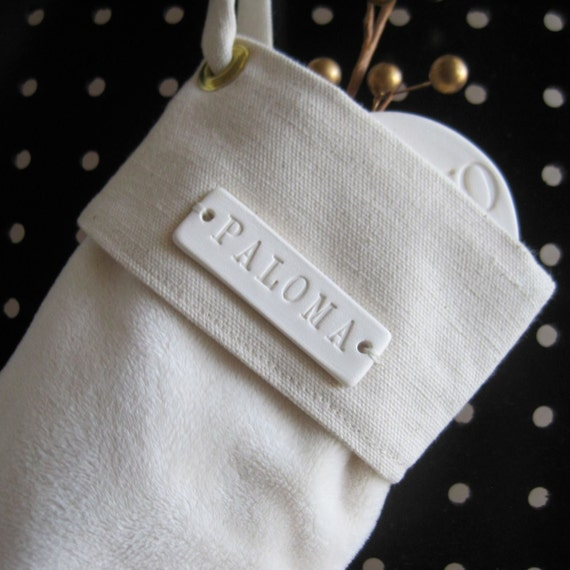 Christmas Stocking - Child Size with personalized white ceramic name tile by Paloma's Nest