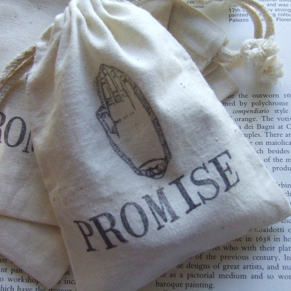 PROMISE gift bag in natural cotton with handstamped text