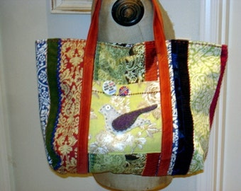 Patchwork Bird Tote Lined 4 Pockets Appliqued Extra Large Diaper Bag Shopping School Fully Lined Original Design by Make Mine Pretty