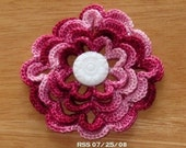 Multi-layer 3D Red Rose Handmade Brooch or Pin or Pendant or Applique in Shaded Garnet Reds