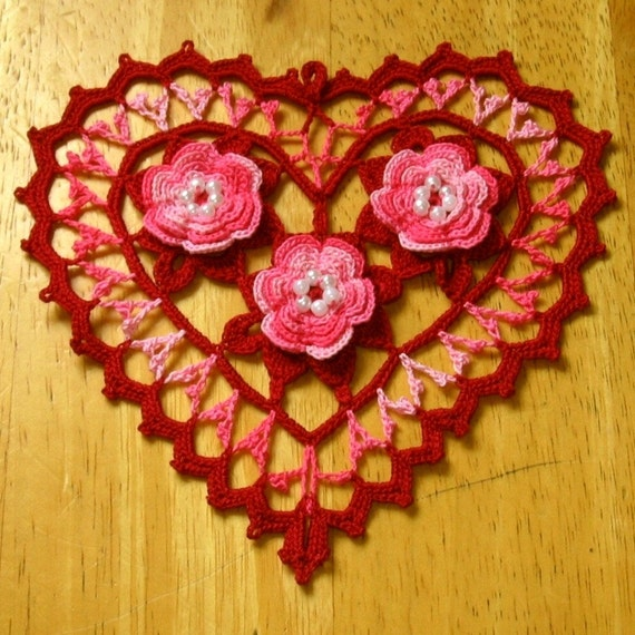3D Beaded Pink ROSES in Red Irish Heart, Irish Crochet Lace, Doily, Fiber Art, Thread