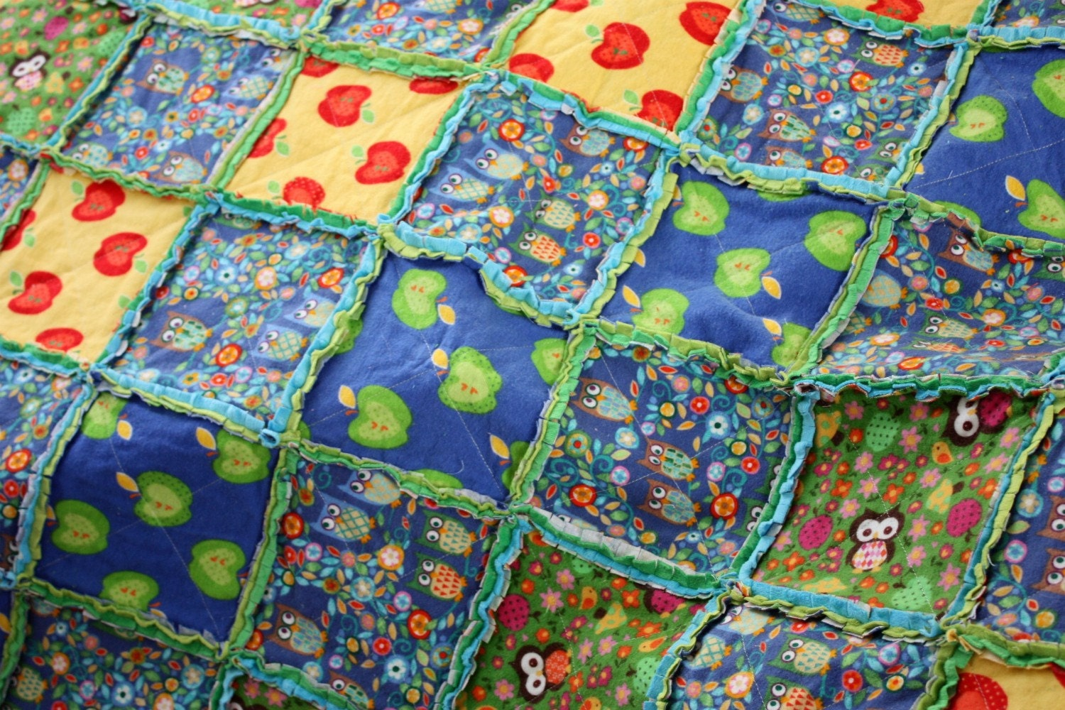 Rag Quilt Owl Pattern : Owl Baby Rag Quilt by thecupcakery on Etsy