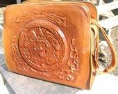 MAYAN leather-tooled Handbag