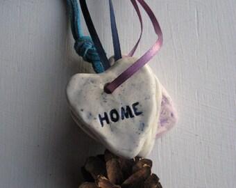 HOME heart ceramic pendant