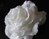 Large white Rose with glitter hair flower.