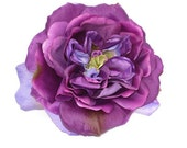 Extra large plum purple rose hair flower.