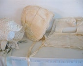 Vintage Baby Bonnets and Bib - Baby Clothes