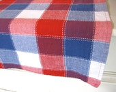 Vintage Tablecloth - Plaid - Red, White and Blue