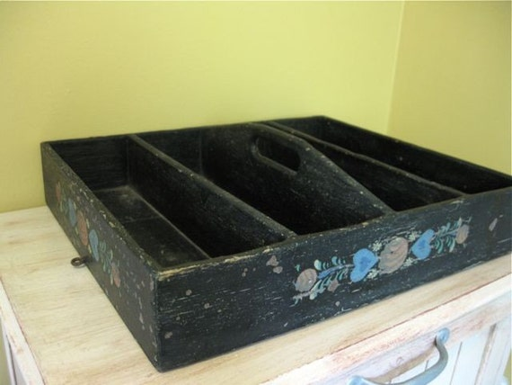 Vintage Wooden Silverware Tray - Black Shelf