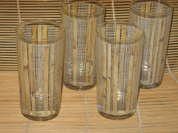 Vintage Drink Glasses Bamboo Pattern Set Of 4 Four By Fishlegs