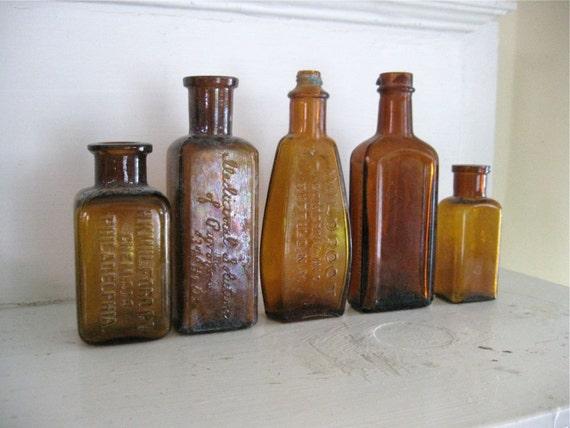 Vintage Medicine Bottles- 5 Amber Glass