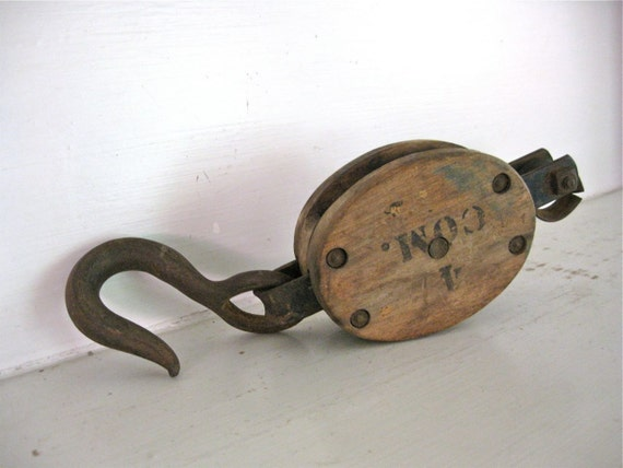 Vintage Wood Block Pulley - Rusty Hook