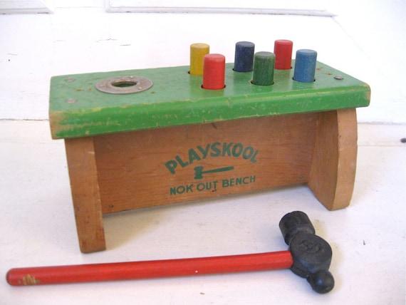 Vintage Toys - Playskool Nok Out Bench - Wood