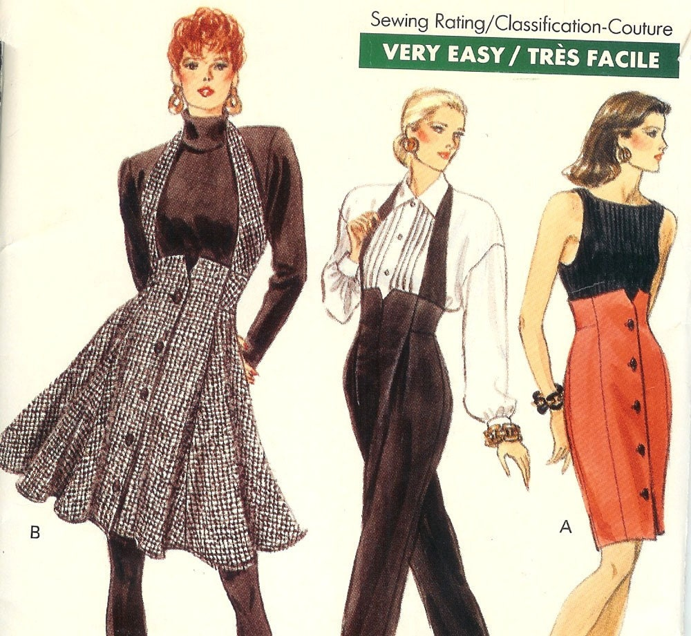 1980svery easy vogue sewing pattern high waisted skirt