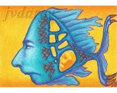 Holy Fish -- ACEO Print of Colored Pencil Bizarre Surreal Drawing