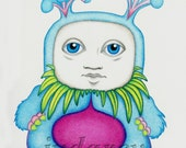 Merwyn Print 8 x 10 Surreal Bizarre Fuchsia-Potbellied Big-Eyed, Six-Bunny-Eared, Totem-Faced, Flower-Petalled Dude