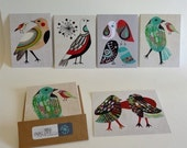 Birds 5 pack mini prints postcard size eco friendly recycled card stock