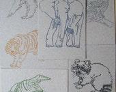 typewriter animal postcards, gocco printed six pack