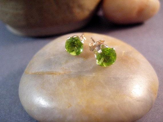 Genuine Peridot 6mm Stud Earrings