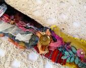 Boho Bohemian Bracelet OOAK - Fabric Art Bracelet - Funky - FUN