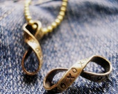 Infinity for Couple -Pocket Infinity Charm xoxo Brass Ribbon Infinity MADE TO ORDER