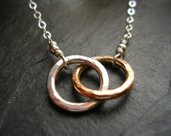 Tiny Two Circle Necklace Gold & Silver Linked Together Two Toned Infinity Necklace - made to order