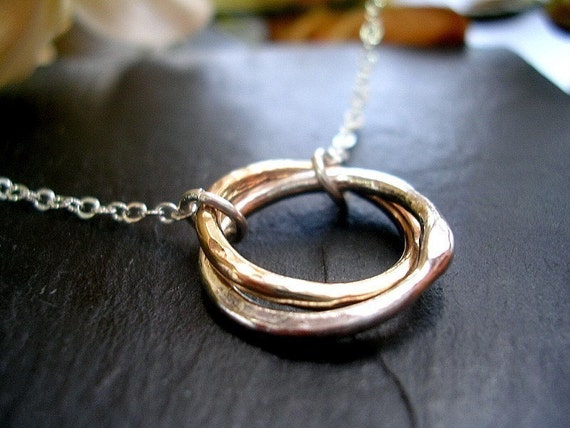 Karma Necklace Entwined Together Gold & Silver Two Circle Necklace MADE TO ORDER