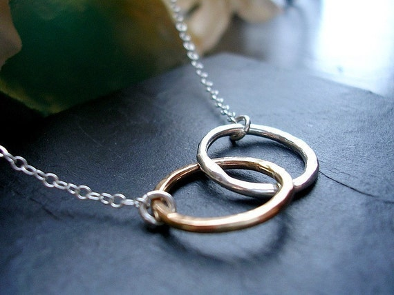 Karma Necklace Two Tone Infinity Necklace -Always Together Two Circle Necklace MADE TO ORDER