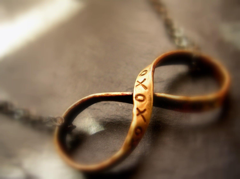 Infinity Necklace Xoxo Brass Ribbon Infinity Pendant With