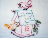 Spring Time Birds Hand Embroidered Tea Towel