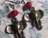 Two tuns In the sunset red crystal and brass elephant Earrings