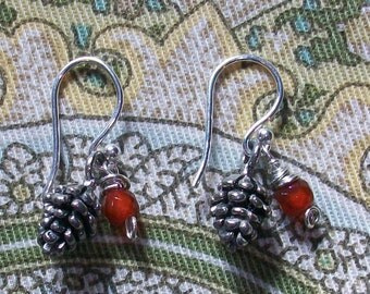 Miniature,silver pinecones, carnelian, berry, semi precious stone, natural, woodsy, earrings