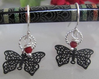Point Me at the Sky,black enamel ,filigree, butterfly with red crystal beads earrings