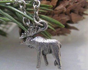 Silver, wild, mountain, moose, charm necklace.