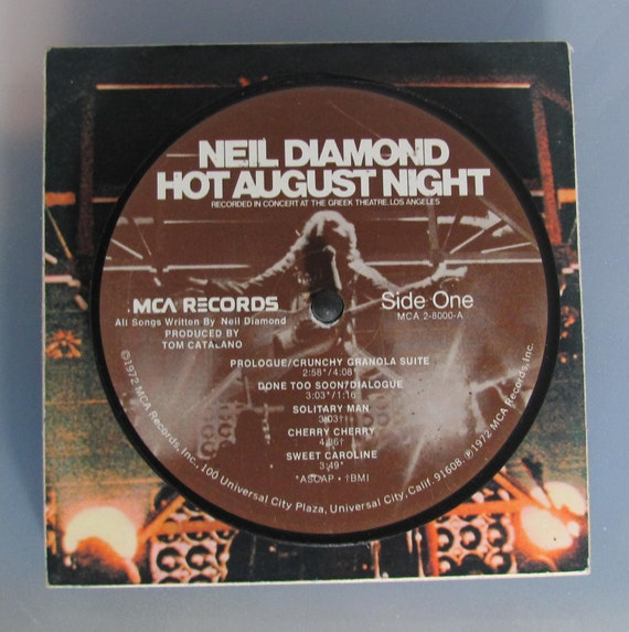 Neil Diamond - Vinyl Record Drink Coaster Set With Stand