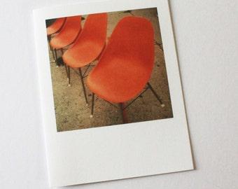 "vintage orange chairs ""instant film"" card"