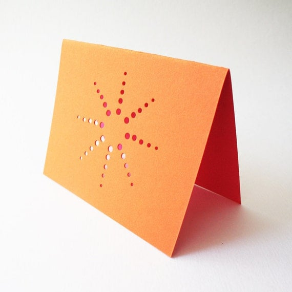 orange burst cards ... set of 3 blank cards