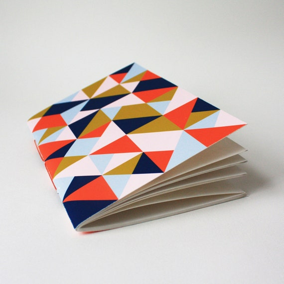 triangle jotter ... with navy, orange, and pink