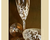 Cheers to Swirly-Goodness Hand Painted Glass Toasting Flutes Set of Two (2)