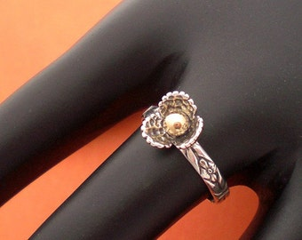 Handmade Two Tone Flower Ring in Sterling and 14Kt Gold