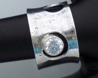 Handmade Sterling Silver Swiss Cheese Ring OOAK Wide Band Holey